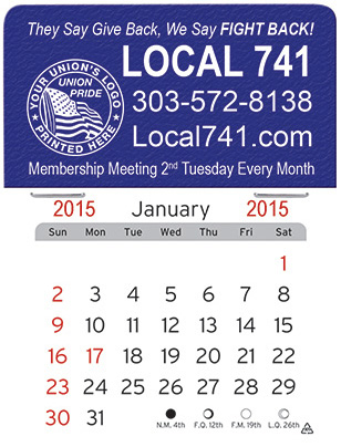 Union Adhesive Calendars, Union Made & Union Printed